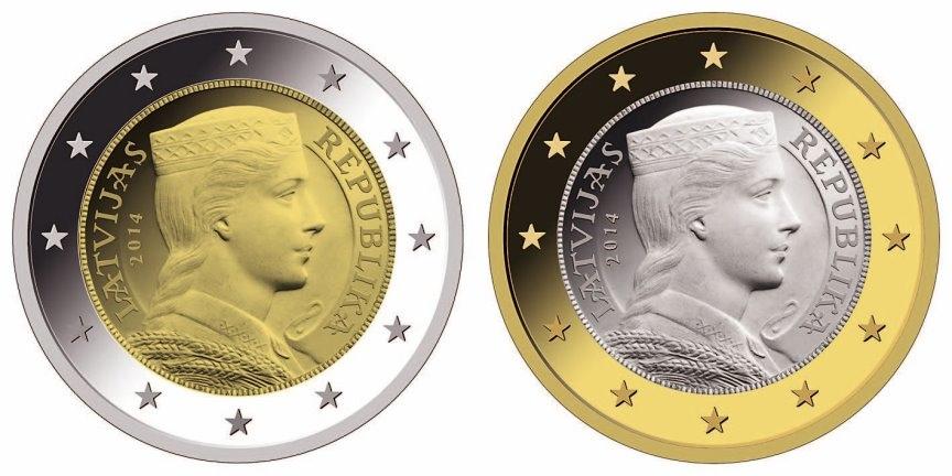 Das Trachtenmädchen auf den neuen lettischen 2- und 1-Euro-Münzen (Quelle: Latvijas Banka)