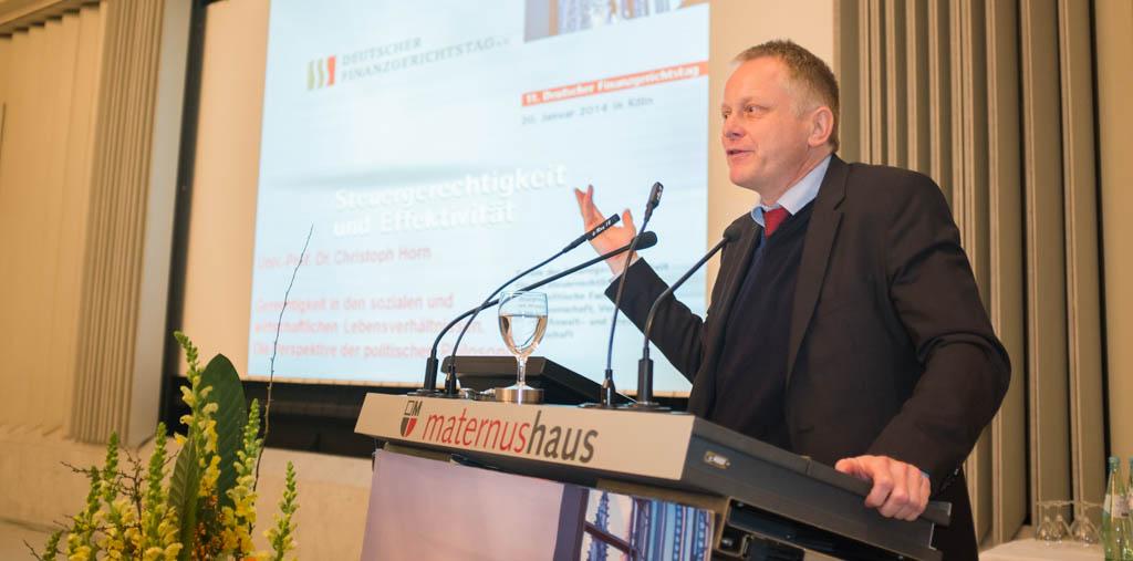 Prof. Dr. Christoph Horn spricht auf dem 11. Deutschen Finanzgerichtstag in Köln über Gerechtigkeit