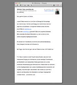 Diese automatische Antwort erhält, wer die Kanzlei TKP außerhalb der Mailbearbeitungszeit anmail (zum Vergrößern klicken).