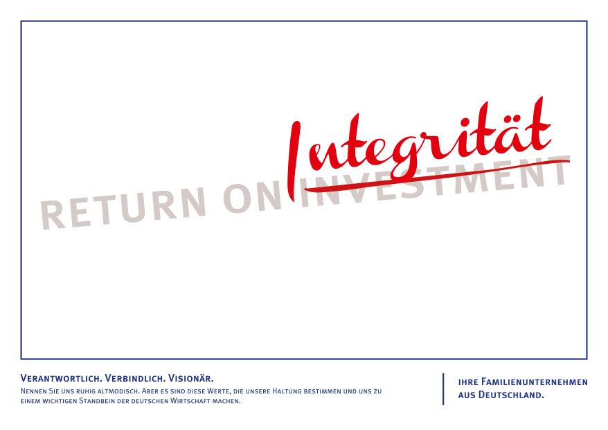 Ein Motiv von der Agentur ad.quarter für eine Imagekampagne für Familienunternehmen, iniitiert vom Hamburger Institut für Familienunternehmen, impulse und die Beratung Francis Drake Agenturnavigator