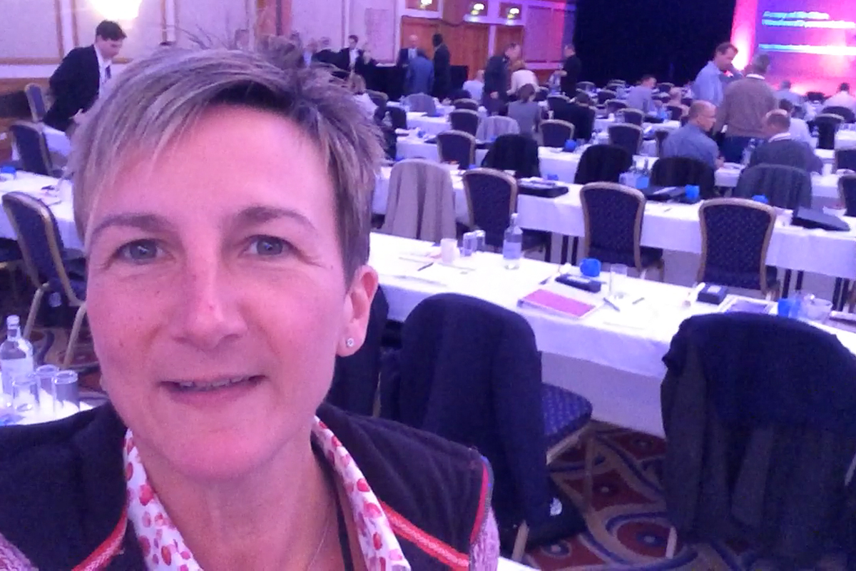 Angela Hamatschek auf der 2020group Annual Conference in Birmingham