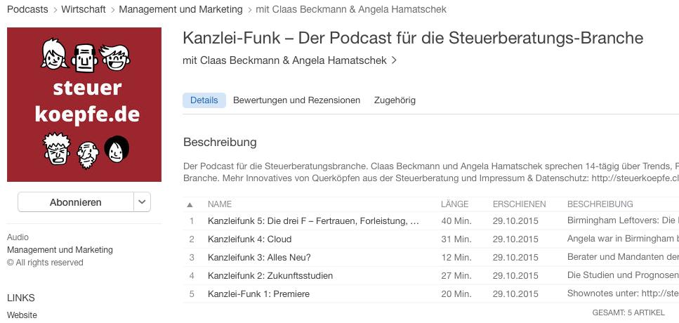 Kanzlei-Funk einfach in iTunes abonnieren