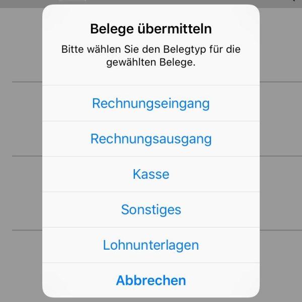 Alle markierten Belege (in diesem Fall nur ein Beleg) lassen sich im Auswahl-Dialog der Digi-Bel-App auf Schlag typisieren.