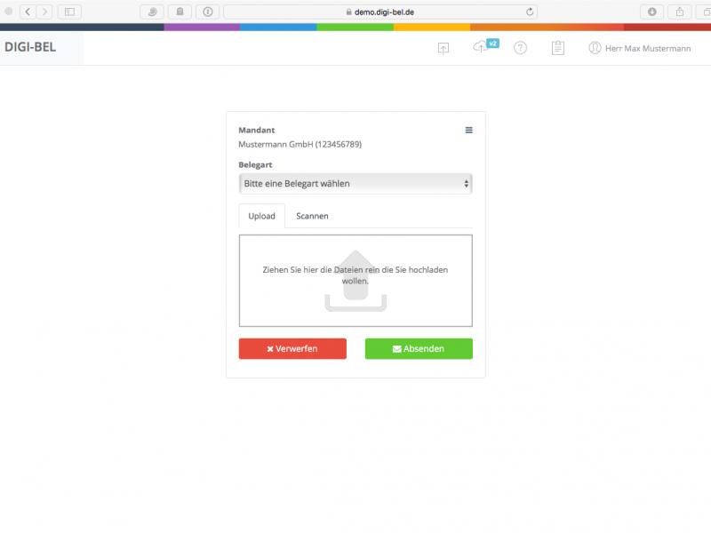 Belegdateien im digi-bel-Webportal zum Upload auswählen