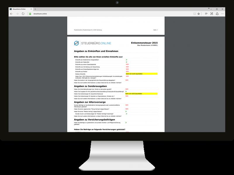 Steuerbüro.Online Einkommensteuer Fragebogen