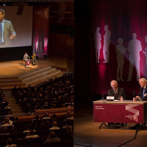 Bayerische Staatsminister der Finanzen Markus Söder eröffnet den 55. Deutschen Steuerberaterkongress in München. Bundesfinanzminister Wolfgang Schäuble schließt den ersten Tag im Gespräch mit BStBK-Präsident Raoul Riedlinger.