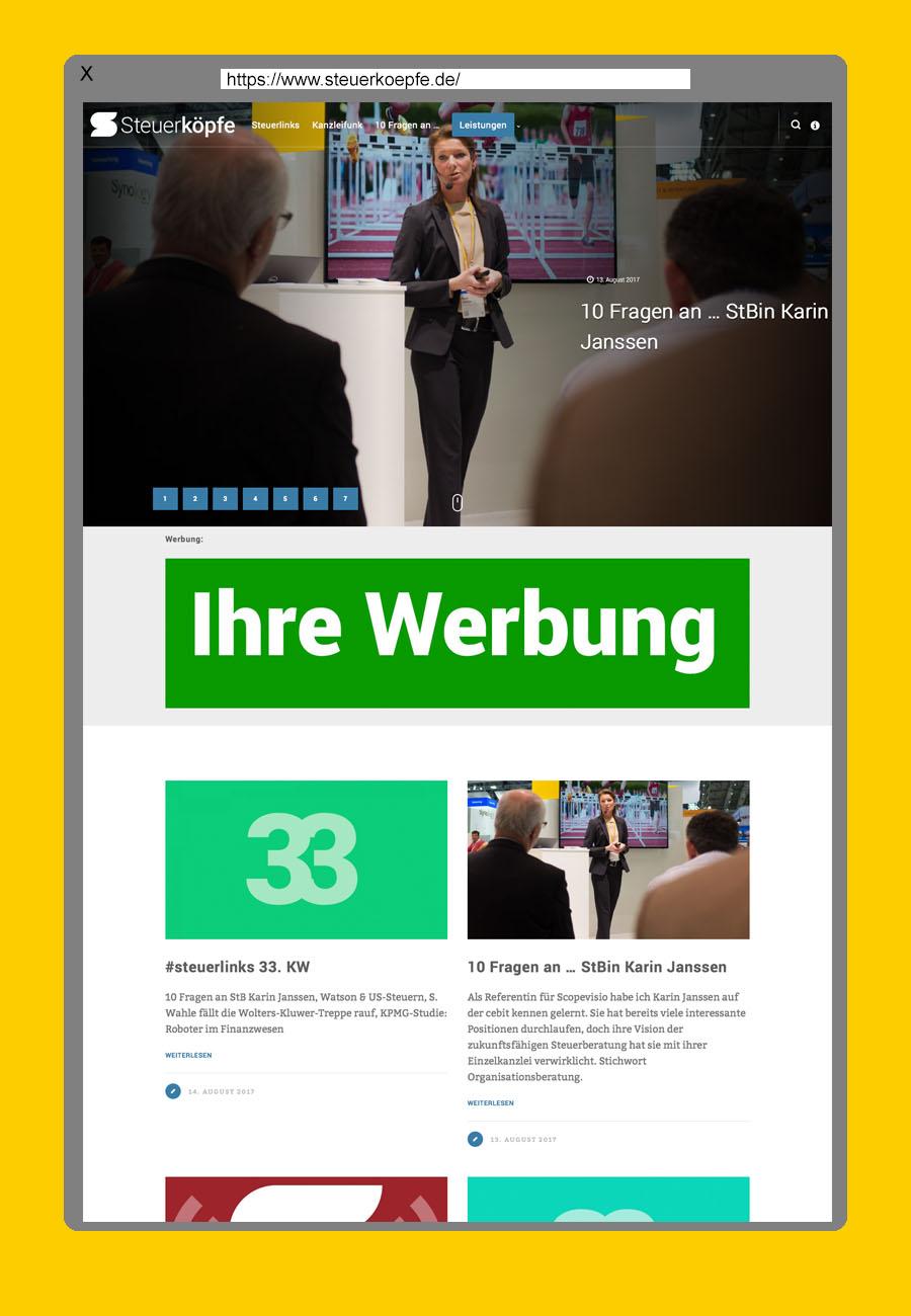 Desktop Darstellung Werbung Startseite steuerkoepfe.de