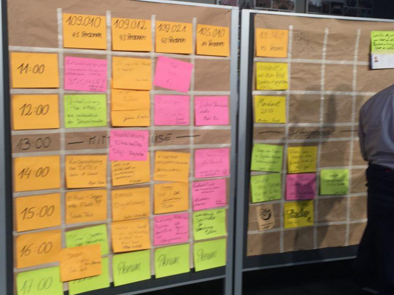 Die von den Teilnehmern vorgeschlagenen Sessions. Viele Themen, viele Interessenten, viel Abwechslung.