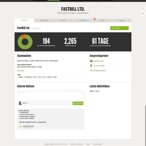 FastBill Kundenakte