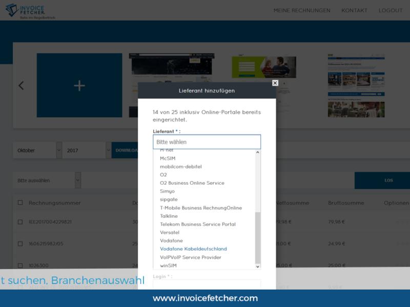 Invoicefetcher: Lieferant aus fast 400 Vorschlägen auswählen