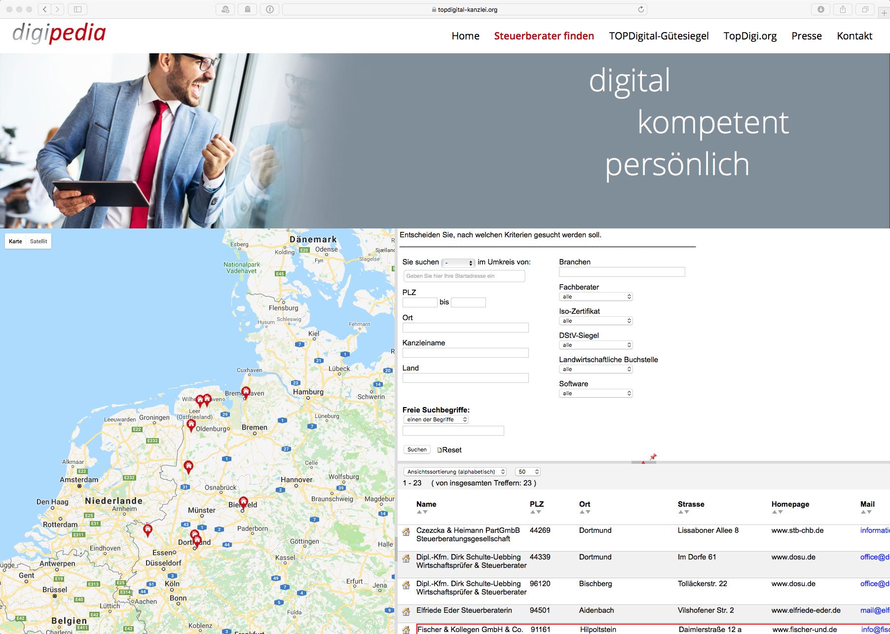 Digipedia –die StB-Suchmaschine für Kanzleien mit dem TOPDigital Qualitätssiegel