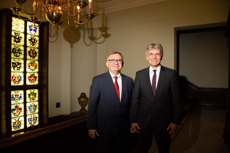 Prof. Dr. StB Franz Jürgen Marx mit dem Preisträger Prof. Dr. Christoph Spengel (rechts)