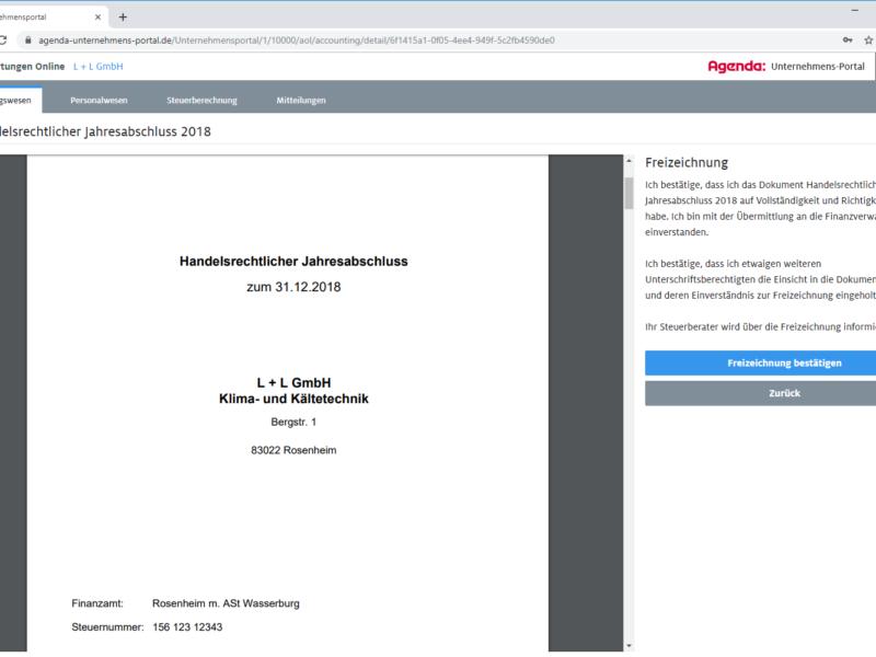 Freizeichnung im Agenda Unternehmens-Portal