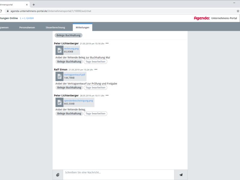 Mitteilungen im Agenda Unternehmens-Portal