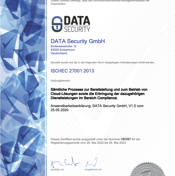 Zertifikat ISO 27001 Data-Security
