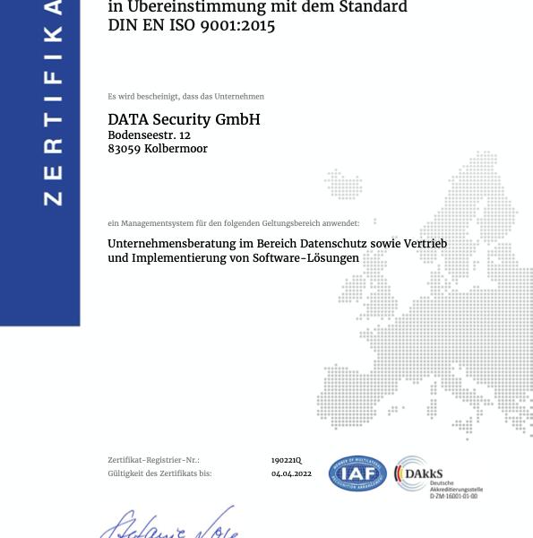 Zertifikat ISO 9001:2015 Data-Security