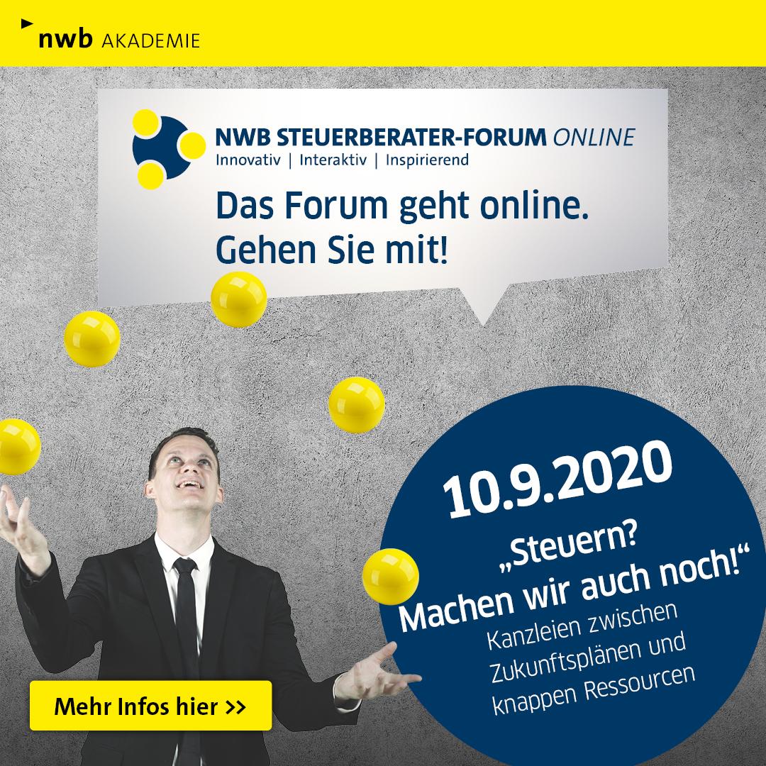 Das NWB Steuerberater-Forum geht online. Gehen Sie mit! Am 10. September 2020